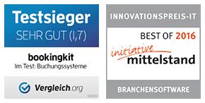 bookingkit ist mehrfach ausgezeichnet - Testsieger und Innovationspreis IT